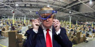 Trump durante su visita a una fábrica en mayo de 2020