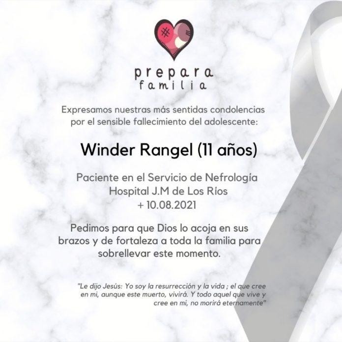 Prepara Familia lamentó el fallecimiento de Winder Rangel